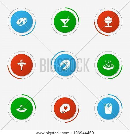 Collection Of Martini, Seafood, Eggs And Other Elements.  Set Of 9 Food Icons Set.