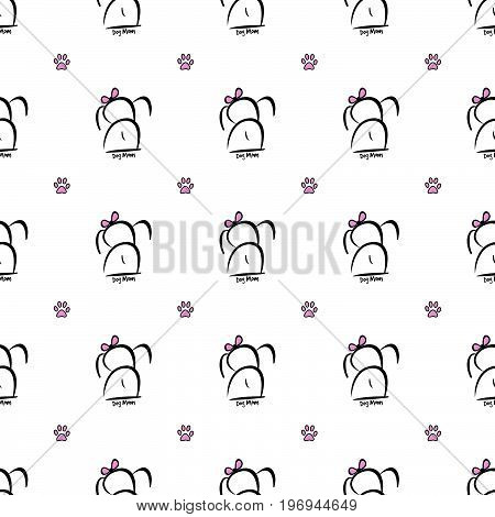 This adorable girl dog mom seamless pattern can be pieced together to create any size illustration your project needs. The dog was hand drawn.