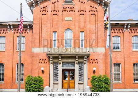 Frederick, Usa - May 24, 2017: City Hall In Downtown City In Maryland With Brick Building Exterior,