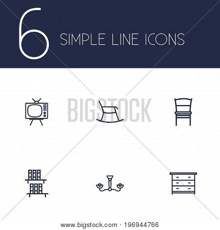 Collection Of Tv Set , Chandelier, Bookshelf Elements.  Set Of 6 Decor Outline Icons Set.