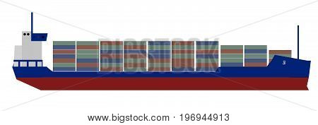 blue and red container ship, large boat, import, export