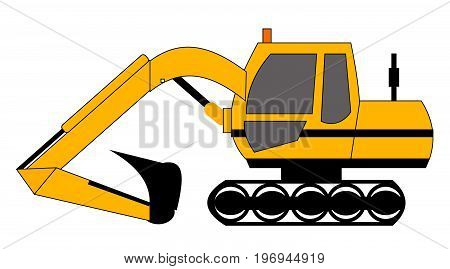 vector yellow digger building site tracked vehicle