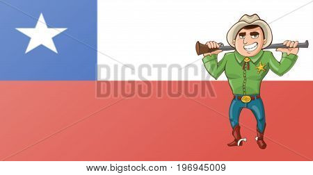 Illustration of Texas. Texas flag. Cowboy. Character
