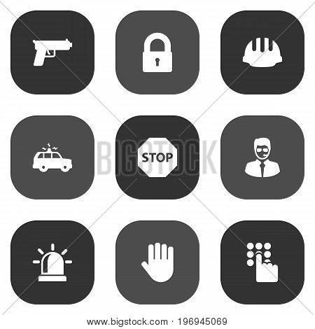 Collection Of Sign, Shot, Key And Other Elements.  Set Of 9 Security Icons Set.