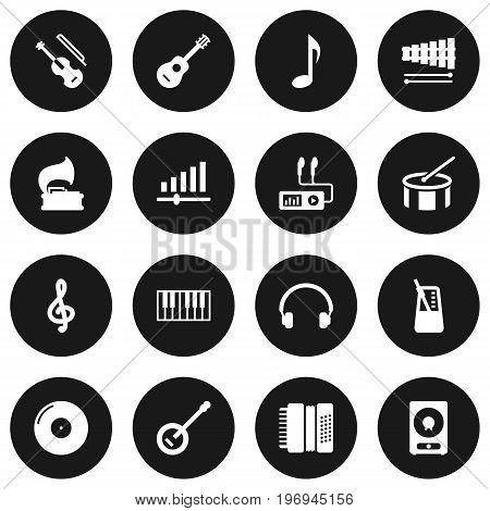 Collection Of Retro Disc, Knob, Tone Symbol And Other Elements.  Set Of 16 Melody Icons Set.