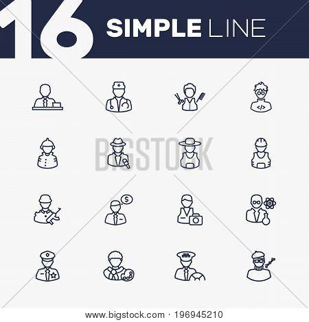 Collection Of Banker, Soldier, Manager And Other Elements.  Set Of 16 Job Outline Icons Set.