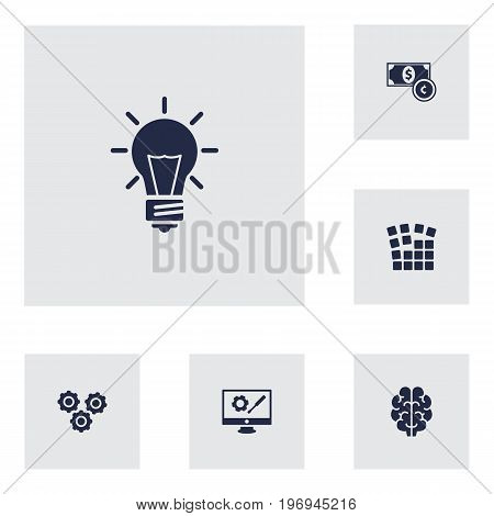 Collection Of Repair Service, Currency, Gear And Other Elements.  Set Of 6 Idea Icons Set.