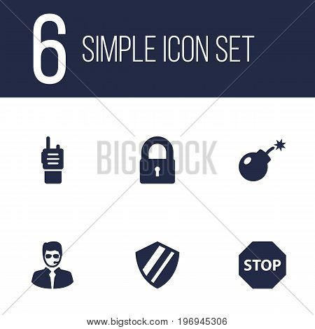 Collection Of Sign, Padlock, Walkie-Talkie And Other Elements.  Set Of 6 Procuring Icons Set.