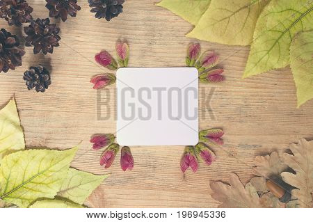 Autumn background - frame of multi-colored autumn leaves with a sheet of paper for text on a wooden background