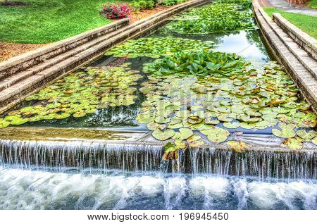 Frederick, Usa - May 24, 2017: Carroll Creek In Maryland City Park With Canal And Fountain Waterfall