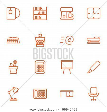 Collection Of Bookshelf, Calculator, Table Lamp And Other Elements.  Set Of 16 Bureau Outline Icons Set.