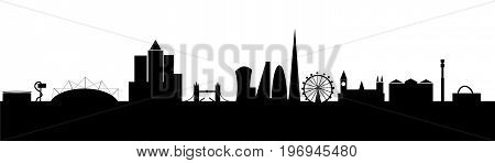 london background silhouette cityscape vector o2 london eye canary wharf