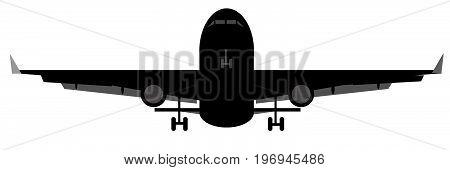 aeroplane landing black silhouette plane vector take-off