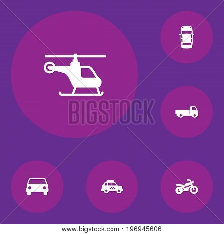 Collection Of Car, Copter, Taxicab And Other Elements.  Set Of 6 Transport Icons Set.
