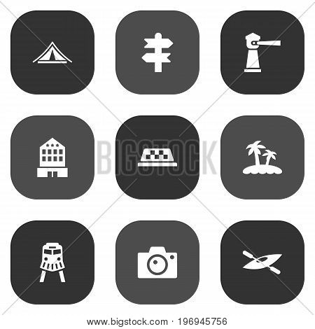 Collection Of Arrows, Seamark, Tram And Other Elements.  Set Of 9 Relax Icons Set.