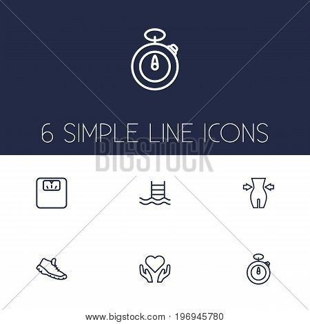 Collection Of Pool, Weight Loss, Stopwatch And Other Elements.  Set Of 6 Fitness Outline Icons Set.