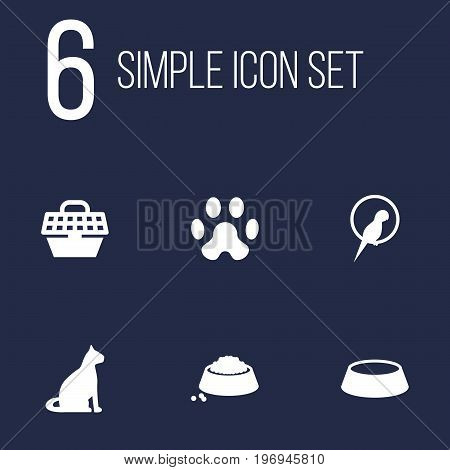 Collection Of Dish, Footprint, Food And Other Elements.  Set Of 6 Pets Icons Set.