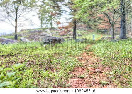 Trail In Forest Leading To Little Round Top In Gettysburg Battlefield National Park With Grave Stone
