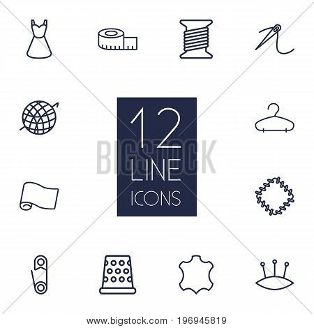 Collection Of Safety Pin, Leather, Measuring Tape And Other Elements.  Set Of 12 Tailor Outline Icons Set.