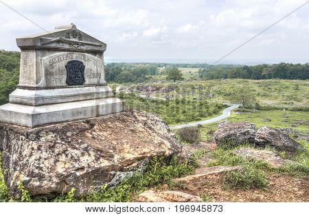 Gettysburg, Usa - May 24, 2017: Little Round Top Grave Stone In Gettysburg Battlefield National Park