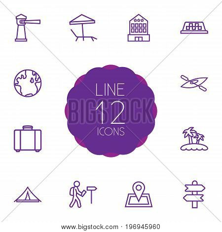 Collection Of Direction, Globe, Boat And Other Elements.  Set Of 12 Relax Outline Icons Set.