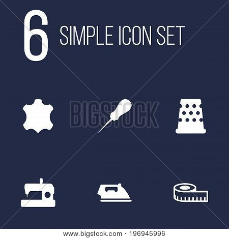 Collection Of Skin, Flatiron, Bodkin And Other Elements.  Set Of 6 Tailor Icons Set.