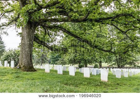 Gettysburg, Usa - May 24, 2017: Gettysburg National Cemetery Battlefield Park With Many Grave Stones