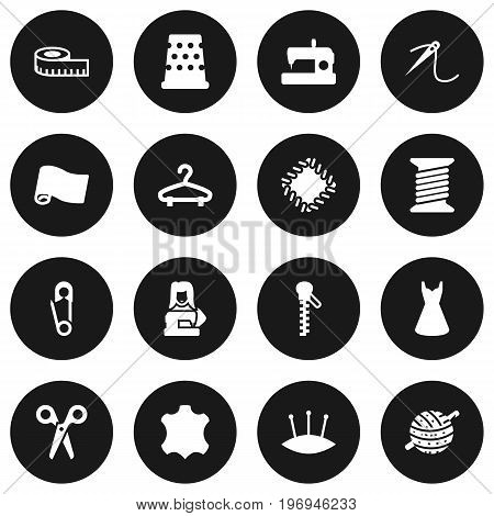 Collection Of Seamstress, Embroidered, Skin And Other Elements.  Set Of 16 Tailor Icons Set.