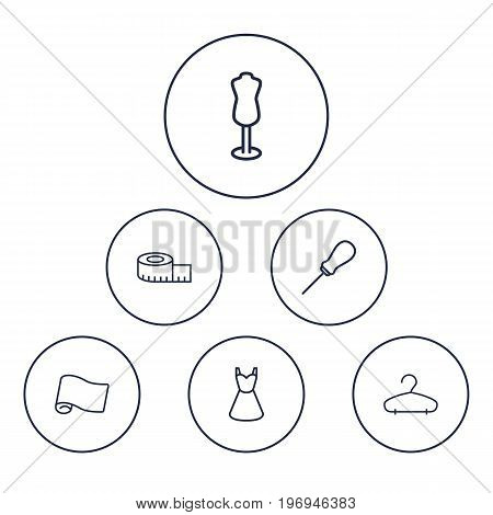 Collection Of Measuring Tape, Awl, Hanger And Other Elements.  Set Of 6 Sewing Outline Icons Set.