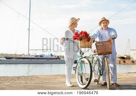 Happy senior couple with their bicycles near river