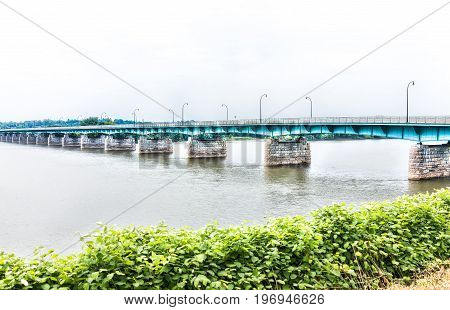 Harrisburg, Usa - May 24, 2017: Capitol Of Pennsylvania City With River And Harvey Taylor Bridge