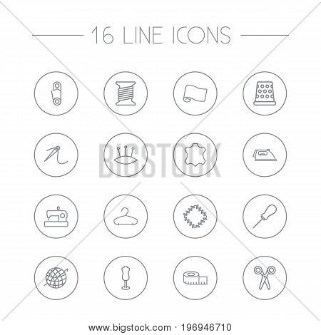 Collection Of Bobbin, Safety Pin, Fabric And Other Elements.  Set Of 16 Stitch Outline Icons Set.