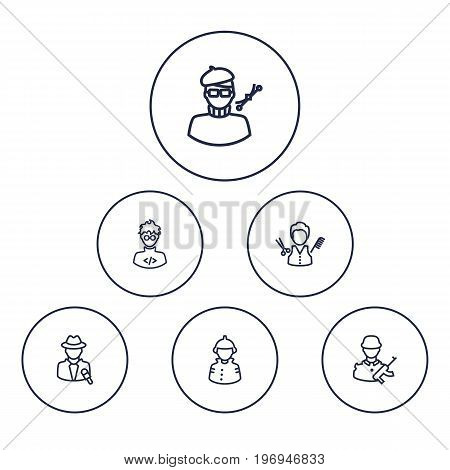 Collection Of Barber, Designer, Firefighter And Other Elements.  Set Of 6 Professions Outline Icons Set.