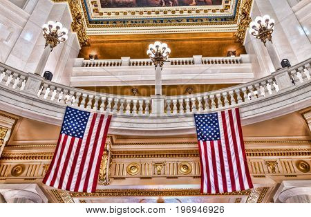 Harrisburg, Usa - May 24, 2017: Pennsylvania Capitol Interior Dome Colorful Ceiling In City With Ame