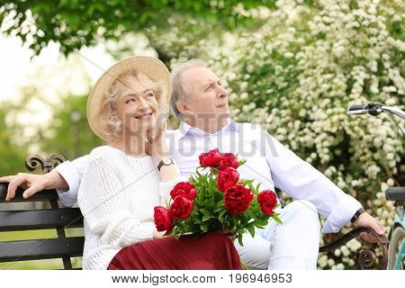Happy senior couple sitting on bench in park