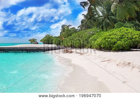 View of beautiful beach at tropical resort