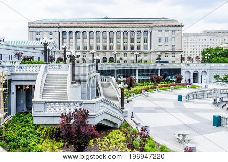 Harrisburg, Usa - May 24, 2017: Pennsylvania Capitol Exterior In City With Steps