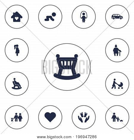 Collection Of Look After, Rocking Chair, Walking And Other Elements.  Set Of 13 Relatives Icons Set.