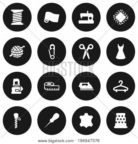 Collection Of Evening Gown, Fastener, Knitting And Other Elements.  Set Of 16 Sewing Icons Set.