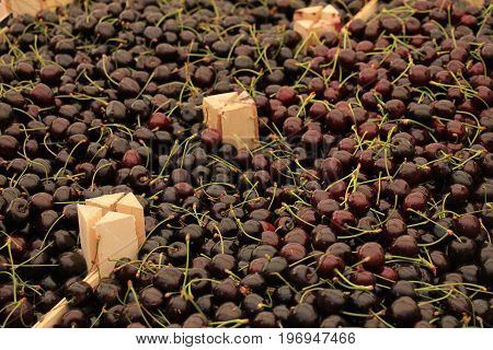 Fresh cherries for sale at a market