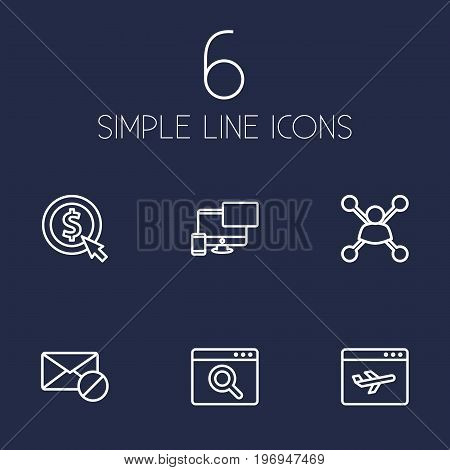 Collection Of Block, Web Design, Stock Exchange And Other Elements.  Set Of 6 Search Outline Icons Set.