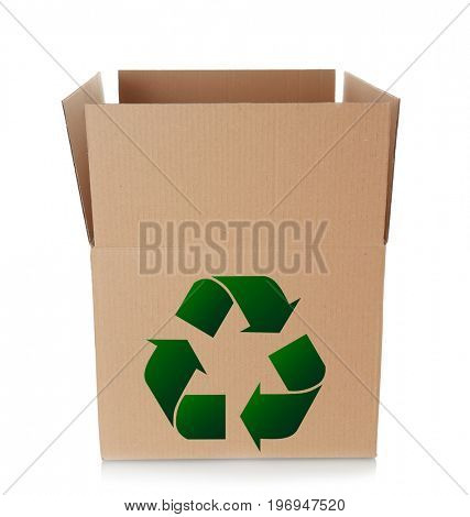 Cardboard box with sign of recycling on white background. Ecology and environment conservation