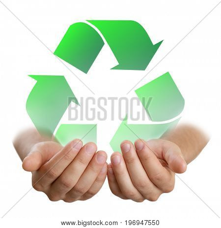 Male hands holding sign of recycling on white background. Ecology and environment conservation