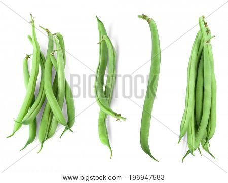Collage of green beans on white background