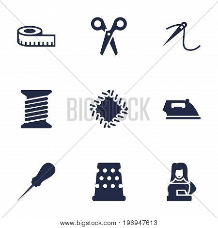 Collection Of Clothier, Bodkin, Eyelet And Other Elements.  Set Of 9 Sewing Icons Set.
