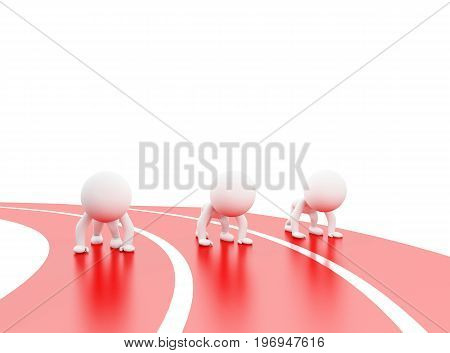 3d illustration. White people at starting line. Isolated white background
