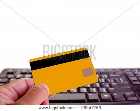 (Close up) Businessman Hand holding credit card. (with free space for text)