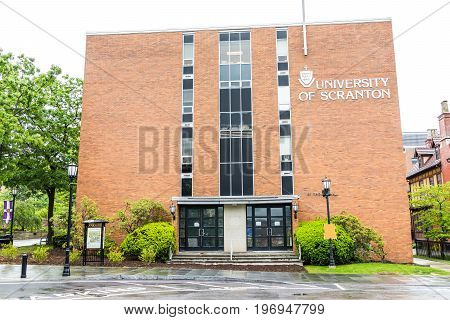 Scranton, Usa - May 25, 2017: University Of Scranton Brick Building With Sign And Entrance