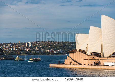 Sydney Opera House, North Sydney Cityscape And Ferry Boats