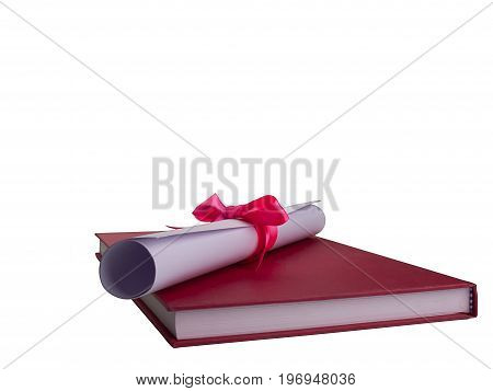 Education Diploma Degree Education Red book Educational concept. (clipping path)